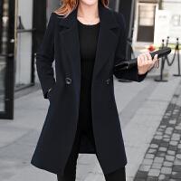2017秋冬季新款韩版加肥加大码风衣大衣中长款西装羊毛呢子外套女