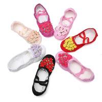 宝宝帆布跳舞鞋幼儿粉色舞蹈鞋儿童芭蕾舞鞋软底女童猫爪鞋练功鞋