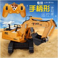 方向盘遥控挖掘机玩具男孩挖土勾机可充电动儿童模型工程车大号无线遥控车 遥控挖掘机【手柄遥控】 两套充电电池