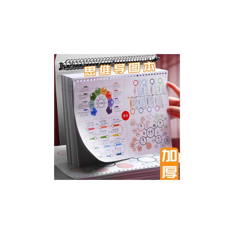 a4大号思维导图笔记本子活页夹装订横式四维导图纸张空白的康奈尔模板小学生做手绘画的练习专用本网格带模板 彩色活页思维导图