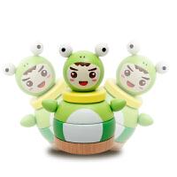 木制环保儿童玩具青蛙不倒翁 彩虹塔套柱 儿童益智玩具