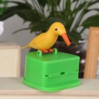 小鸟自动牙签盒 小鸟牙签盒按压式自动弹出创意可爱卡通家用客厅啄木鸟智能牙签筒B