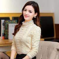 加绒加厚蕾丝衫女2018秋冬新款韩版长袖立领打底衫修身保暖上衣潮
