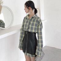 春季女装新款宽松POLO领格子长袖衬衫裙+拉链高腰PU皮半身裙套装