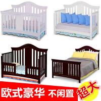 婴儿床实木多功能双胞胎拼接大床摇床可变床zf08