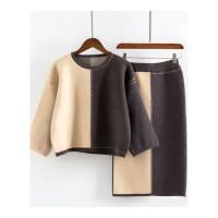 拼色长款毛衣裙韩版新款半身裙针织毛衣套装女秋冬两件套套裙 均码(适合75-115斤)