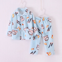 春秋季儿童珊瑚绒睡衣套装男童女童长袖法兰绒小孩宝宝加厚家居服