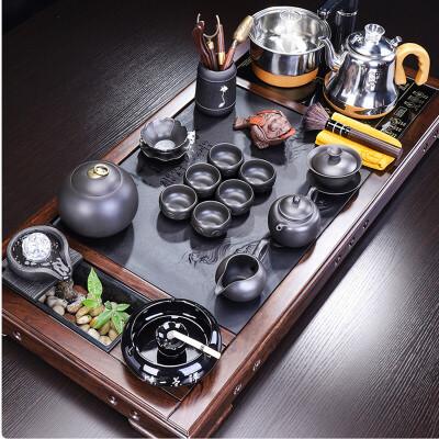 唐丰黑檀木茶具套装家用实木茶盘流水器乌金石茶台四合一办公室用 流水景观,文字雕刻
