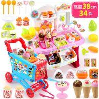 儿童玩具女孩 做饭厨具餐具套装厨房玩具过家家玩具 超市台购物组合(粉色)