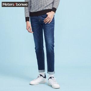 美特斯邦威牛仔裤男士新款休闲简洁修身小脚裤裤子Q