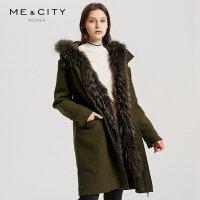 【2件1.5折价:299.9,18日0点可叠券】纯羊毛MECITY女装貉子毛中长款纯色呢大衣外套