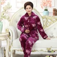 冬季珊瑚绒夹棉睡衣女士棉袄中老年三层加厚法兰绒大码家居服套装