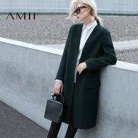 AMII[极简主义]秋冬新款大码中长款长袖羊毛呢双面呢子大衣女
