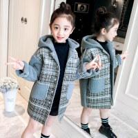 女童大衣女童2018新款秋冬外套加厚羊羔绒中长款洋气上衣儿童时尚格子大衣ZQ74蓝