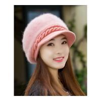 兔毛帽子女冬季时尚潮韩版新款可爱百搭鸭舌帽冬天针织毛线帽 加绒款均码
