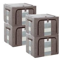 棉麻衣服棉被收纳箱布艺储物箱四件套大号折叠搬家神器柜
