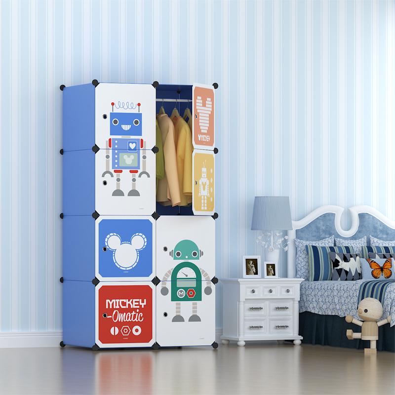Disney迪士尼米奇8门6格1挂加深款 收纳柜储物柜整理柜简易衣柜衣橱(赠磁铁)