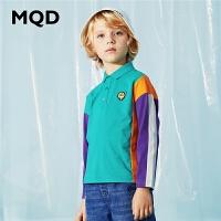 MQD童装男童长袖polo衫20春新款儿童拼接翻领T恤中大童纯棉上衣T