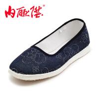 内联升女鞋布鞋手工加密一字针千层底牛仔方口时尚休闲女鞋 老北京布鞋 8625A