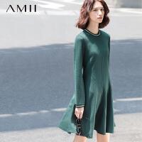 AMII[极简主义]秋冬新撞色条纹圆领长袖肌理修身大码连衣裙11571538
