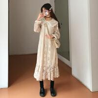 山本风裙秋冬超仙裙子娃娃领蕾丝韩版宽松打底连衣裙女 均码