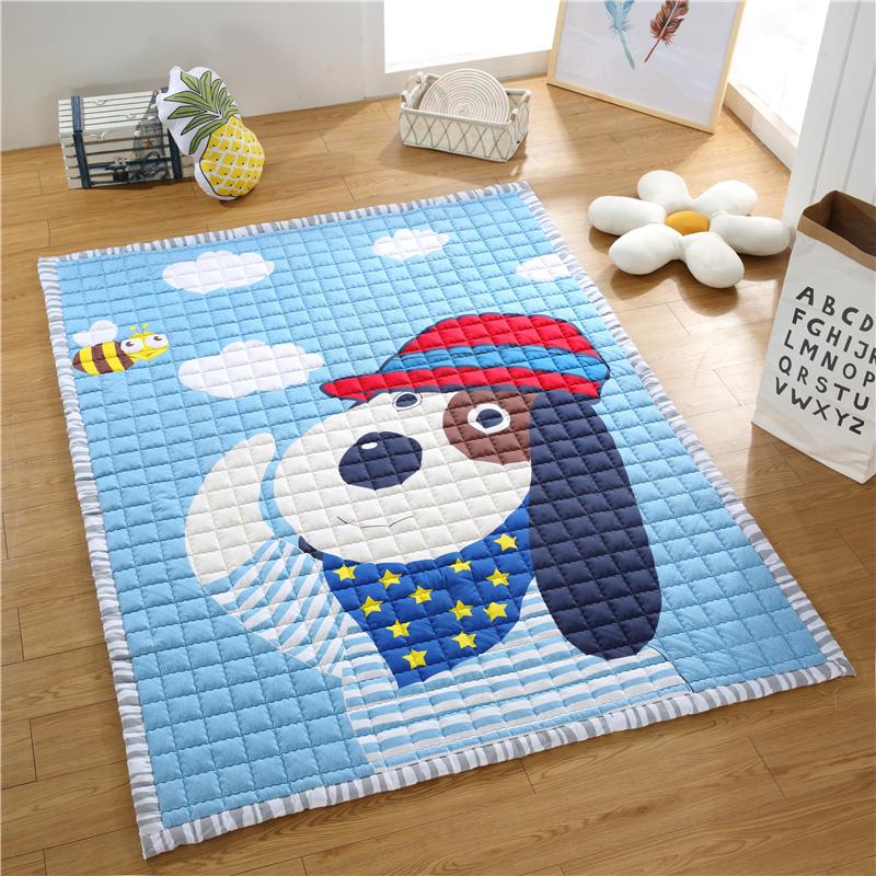 纯棉爬行垫防滑加厚婴儿童客厅卧室游戏毯地垫家用爬爬垫机洗地毯 天蓝色 可爱小狗 200cm*150cm