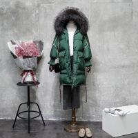 白鸭绒大毛领A字羽绒服女潮中长款冬季新款韩版宽松加厚反季