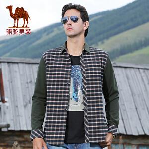 骆驼男装 新款男士直筒尖领衬衫 男士日常格子长袖衬衫 潮