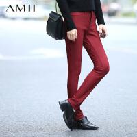 AMII[极简主义]冬大码加绒刺绣小脚裤打底裤11542178
