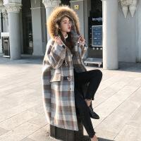微胖mm毛呢外套秋冬季大码女装女新款装秋装200斤秋羊毛混纺大衣 咖色格子