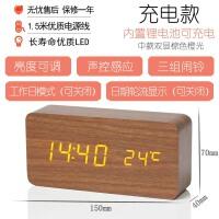 复古木质闹钟LED静音电子钟创意时尚床头钟客厅座钟摆件夜光时钟