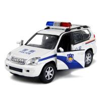 丰田霸道警车越野车合金汽车模型回力玩具小汽车声光版男孩礼物XQB 丰田霸道警车 散装