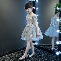 花童�琴演出服小主持人婚�春�和��Y服女童�b一字肩公主裙蓬蓬裙