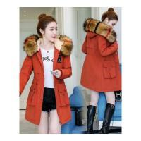 棉衣女冬装韩版中长款加绒加厚外套棉袄大毛领显瘦大码工装潮