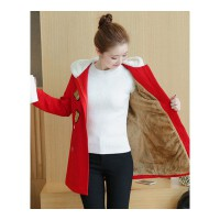 少女加绒加厚中长款毛呢外套秋冬季新款卫衣连帽韩版学生女装