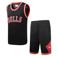 篮球服芝加哥公牛队球衣运动训练套装男款宽松大码蓝球服