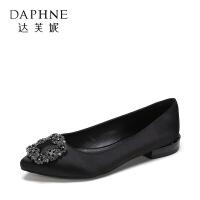 Daphne/达芙妮 杜拉拉时尚尖头低跟浅口女鞋秋通勤单鞋-