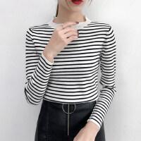 针织衫女装2018秋装新款韩版修身圆领条纹甜美毛衣打底衫上衣 均码