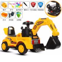 儿童挖掘机可坐可骑推挖土机大号电动男孩玩具充电遥控钩机工程车 官方标配