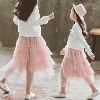 女童半身裙纱裙中长款儿童蛋糕裙子女孩洋气中大童