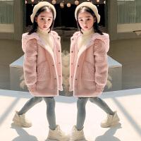 女童大衣2020童�b冬�b中女大童棉衣�和�拼接外套冬