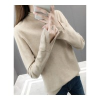 秋冬韩版女装半高领套头毛衣打底衫女新款长袖宽松显瘦针织衫