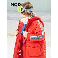 MQD童装2019冬季新款男童红色中长款连帽加厚棉服外套