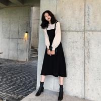 秋冬假两件套装毛衣长裙法式复古桔梗气质过膝打底针织连衣裙子女 黑色