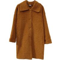中长款大衣棉衣女秋冬新品宽松显瘦百搭翻领皮毛一体外套 均码