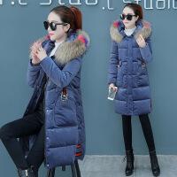 棉衣女冬装新款女装加厚金丝绒中长款羽绒冬天外套棉袄潮 蓝色 M