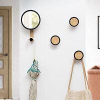 钥匙挂架 简约现代墙面实木衣帽架钥匙挂钩壁挂门口装饰墙壁置物架挂架a