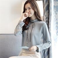初春2021新款韩版雪纺衫女立领细带雪纺衬衫女长袖宽松上衣打底衫