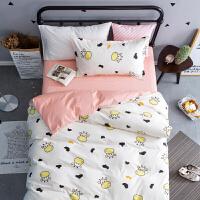 单人学生宿舍床单被套三件套纯棉1.2米 寝室儿童床上用品1.5m女生定制 高密棉 触触牛