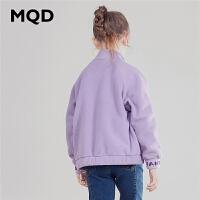 MQD童装女童卫衣2019秋装新款儿童洋气刺绣摇粒绒立领外套防风潮